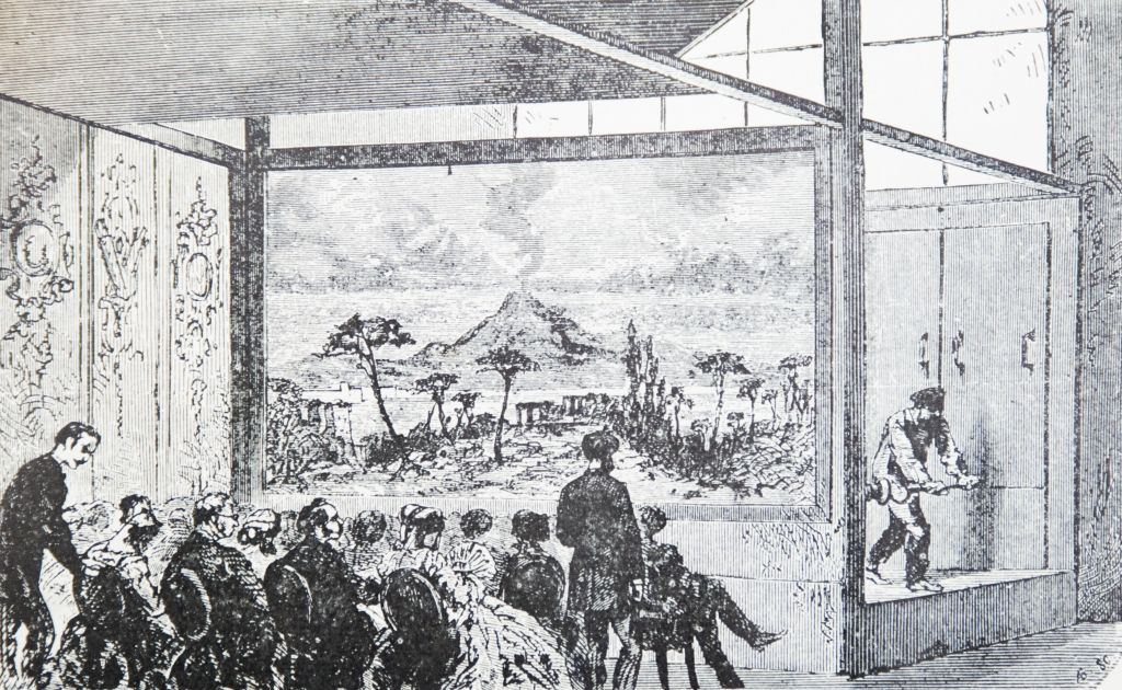 Diorama by Louis Daguerre and Charles Marie Bouton (1822)